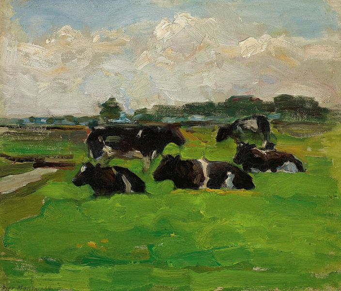 Landschaft mit Gruppe von fünf Kühen, Piet Mondrian von Meesterlijcke Meesters