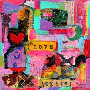 """Collage-Kunstwerk """"Ich liebe mein chaotisches Leben""""."""
