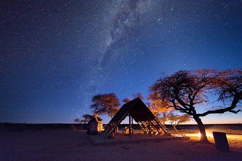 Kamperen in Botswana met de melkweg van