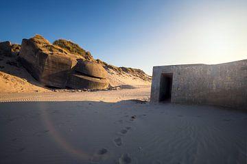 bunker bij zonsondergang van Kristof Ven