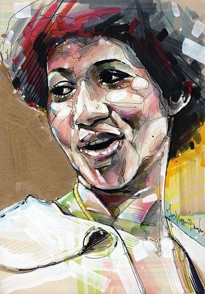 Aretha Franklin Malerei von Jos Hoppenbrouwers