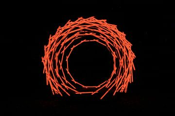 Nest kunst rood1 van Saskia Hoks