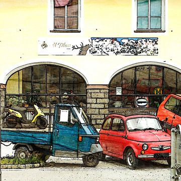 Oude Italiaanse auto`s en een scooter in italië van Joke te Grotenhuis
