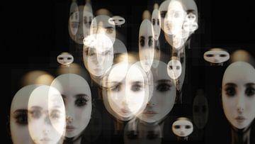 Künstlerische 3D-Illustration von Frauengesichtern von 3QuarksMedia