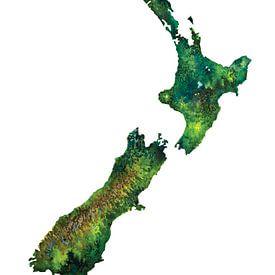 Nieuw Zeeland | Landkaart in Aquarel van - Wereldkaarten.shop -