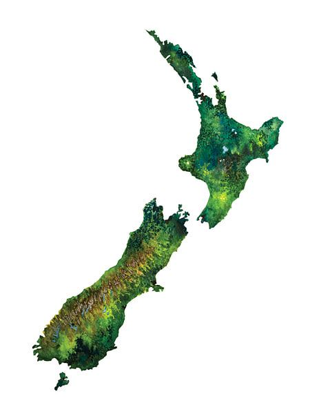 Aquarelle de Nouvelle Zélande sur - Wereldkaarten.shop -