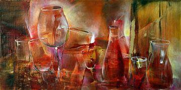 Partij: flessen en glazen in rood en magenta van Annette Schmucker