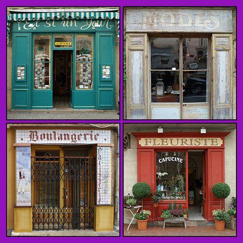 Collage van antieke Franse winkelpuien (type B) van