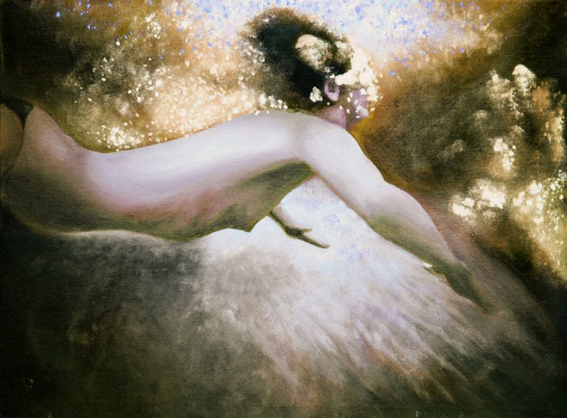 Zwemster in licht en water van Anouk Maria van Deursen