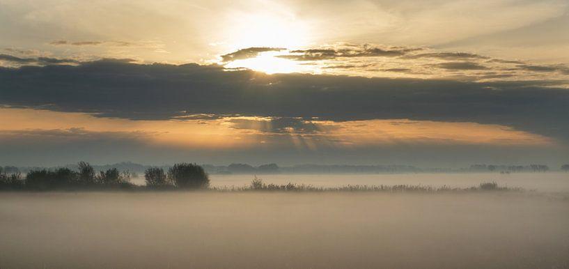 Opkomende zon in de Hoekschewaard van Jan Brand