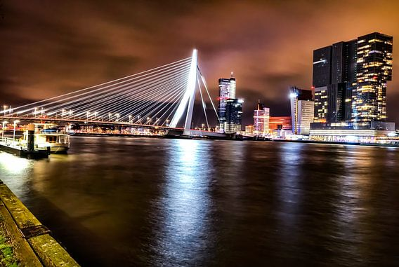 Rotterdam Erasmusbrug Skyline Nacht Foto