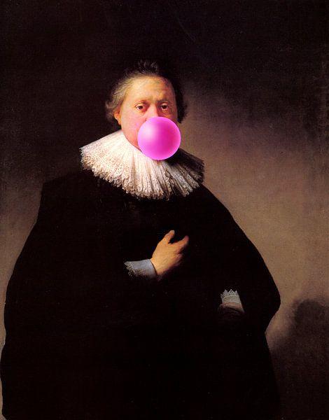 Rembrandt Portret van een Man met Bubble Gum van Maarten Knops