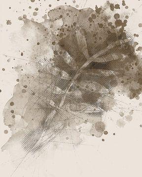Sepia-Skizze mit Blättern von Joost Hogervorst