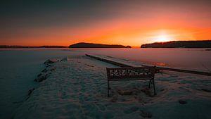 Zweden bevroren meer zonsopkomst van