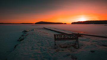 Zweden bevroren meer zonsopkomst van Andy Troy