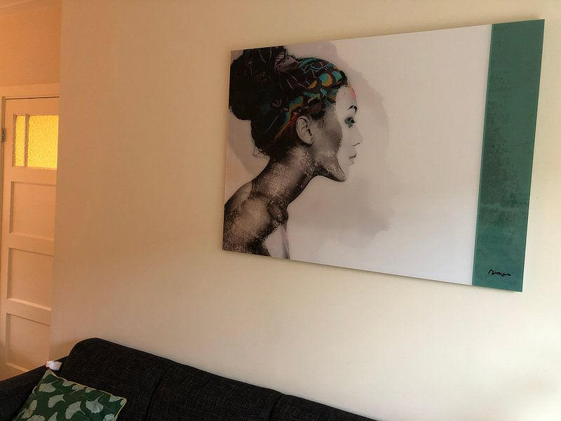 Klantfoto: 21.  silhouet, portret, vrouw, Meta. van Alies werk, op acrylglas