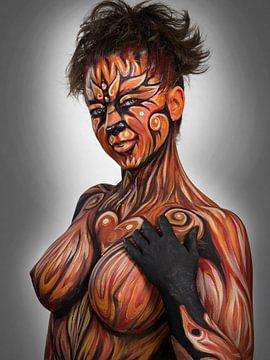 Torso einer sexy Frau; nackt wie ein Pinup mit Körperbemalung von Atelier Liesjes
