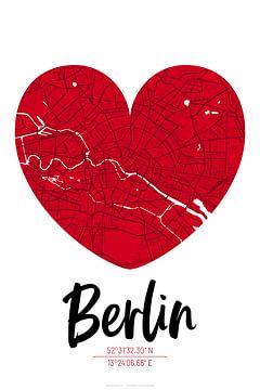 Berlin – City Map Design Stadtplan Karte (Herz) von ViaMapia