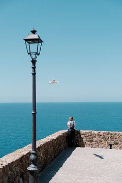 Meisje kijkt uit over zee van Tom Rijpert