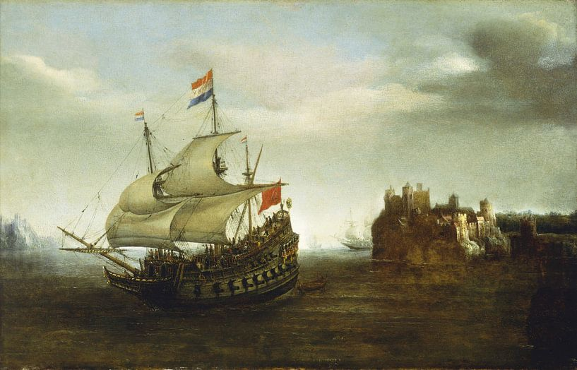 A Castle with a Ship Sailing Nearby, Hendrick Cornelisz Vroom sur Meesterlijcke Meesters