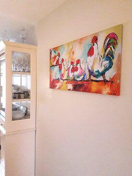 Klantfoto: Kippen op stok van Vrolijk Schilderij