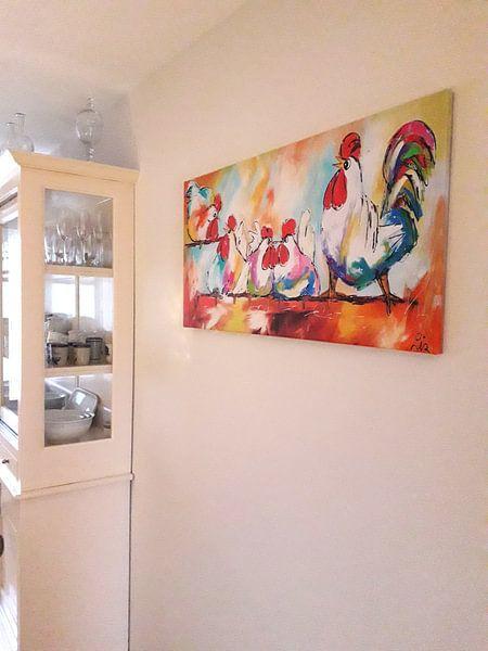 Kundenfoto: Hühner am Stiel von Vrolijk Schilderij, auf leinwand