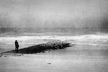 Wandelaars aan de noordzeekust van Greetje van Son