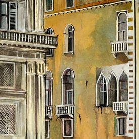 Gondel in Venedig | Malerei von - Wereldkaarten.shop -
