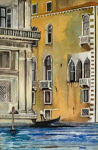 Gondel in Venetië | Schilderij