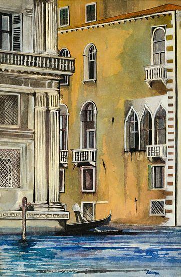 Gondel in Venetië | Schilderij van - Wereldkaarten.Shop -