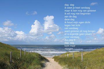 Strandopgang naar zee met poëzie van Bargo Kunst
