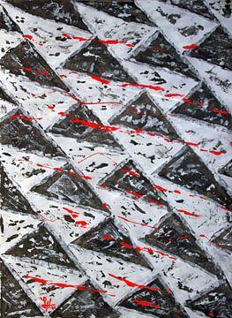 Rote Fadenspuren auf schwarz-weißen Dreiecken von elha-Art