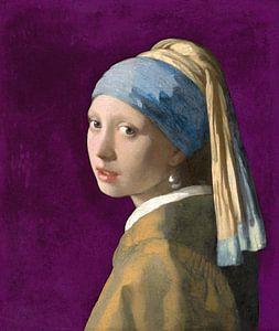 Mädchen mit dem Perlenohrring, violett - Johannes Vermeer