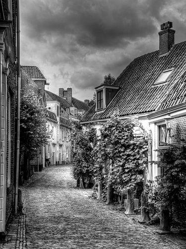 Muurhuizen historisch Amersfoort zwart-wit