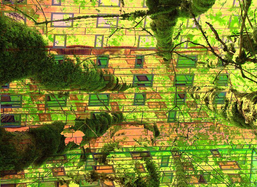Urban jungle collage kunst van Bobsphotography