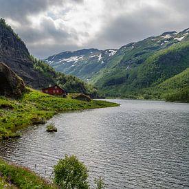Maison rouge dans les montagnes norvégiennes sur Ricardo Bouman