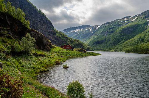 Rode huis in de Noorse bergen
