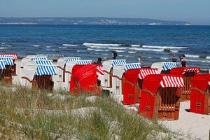 Strand mit Strandkörben, Binz auf Rügen, Insel Rügen, Mecklenburg-Vorpommern, Deutschland