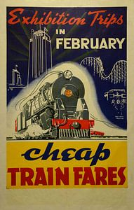Werbeplakat für eine Reise zu einer Ausstellung mit dem Zug in Neuseeland, 1940