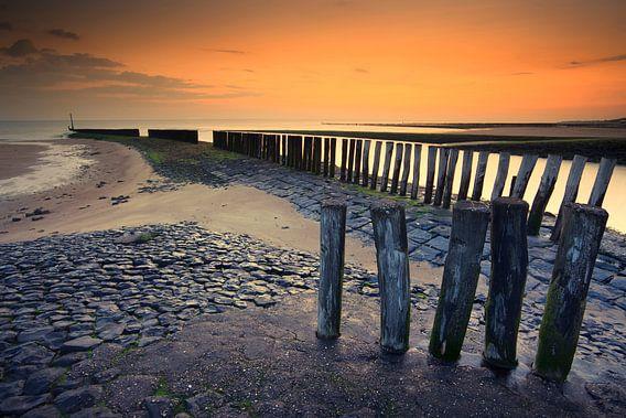 Zonsondergang strand Breskens Nederland