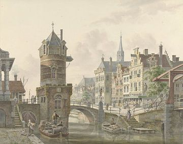 Canal dans une ville avec une petite tour près d'un pont de pierre, Jan Hendrik Verheijen sur