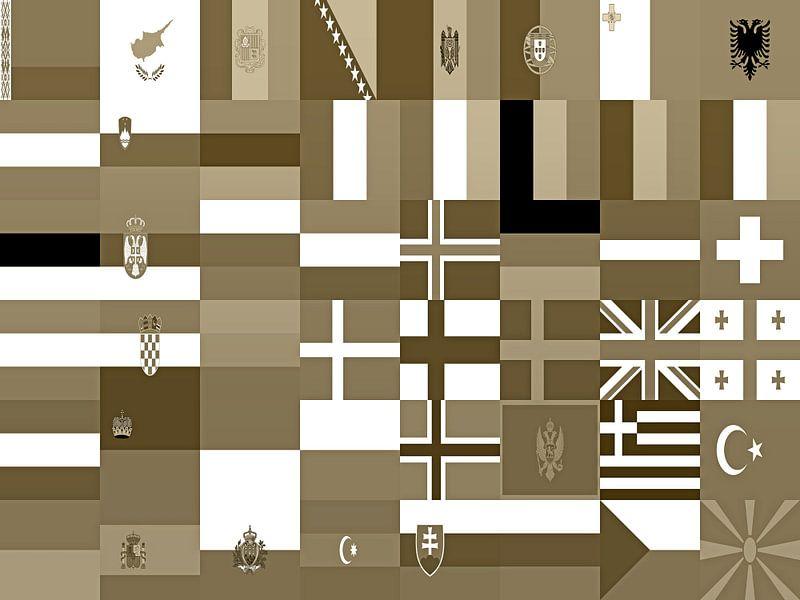 Europese vlaggen in sepia van Frans Blok