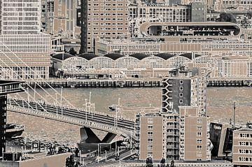 Blokliner Rotterdam - brug, Maas en pier van Frans Blok