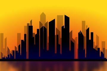Silhouette d'un paysage urbain au coucher du soleil sur Drawn by Johan