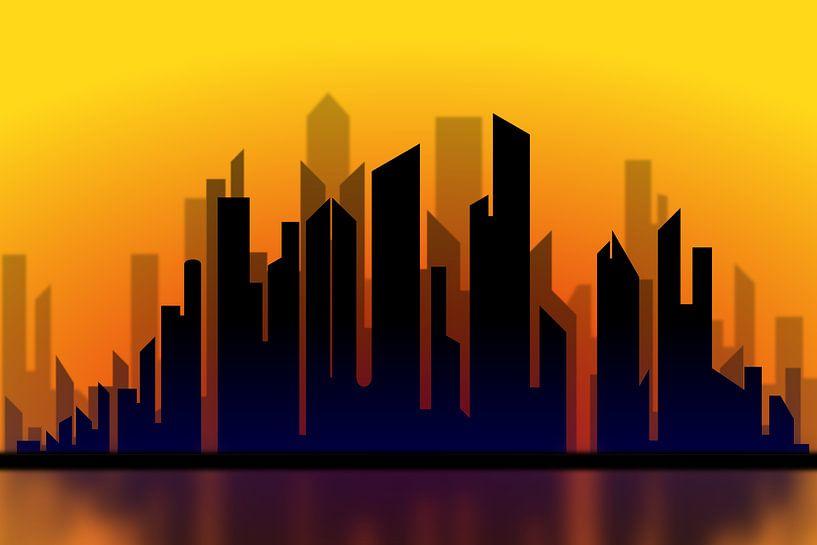 Silhouette des Stadtbildes bei Sonnenuntergang von Drawn by Johan