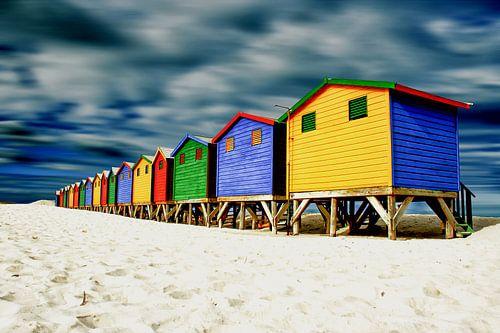 Muizenberg strandhuisjes in kleur van