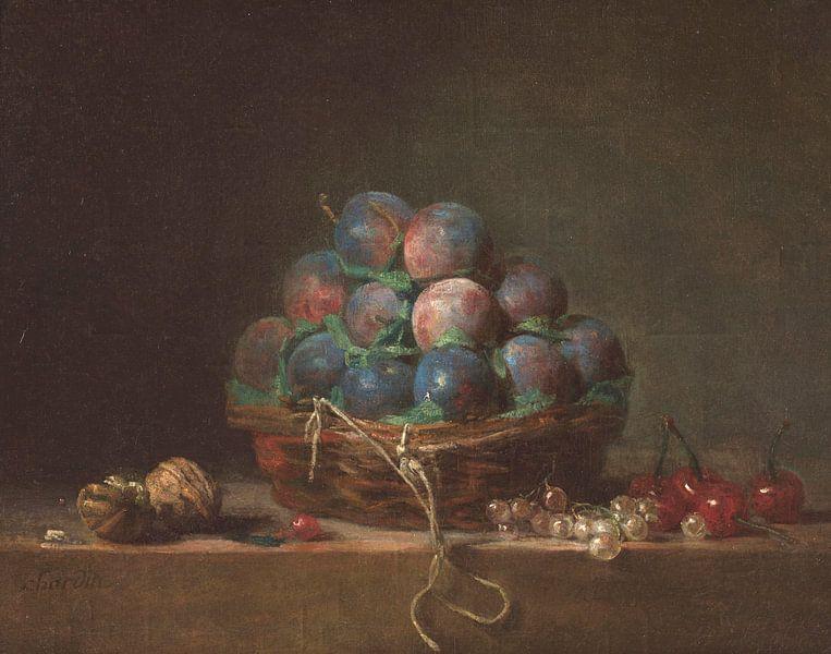 Korb mit Pflaumen, Jean-Baptiste Siméon Chardin von Meesterlijcke Meesters