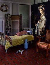 Klantfoto: Saskia als Flora, Rembrandt, op behang