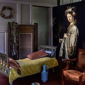 Klantfoto: Saskia als Flora, Rembrandt van Rembrandt van Rijn, op behang