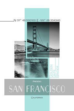 Poster Art SAN FRANCISCO Presidio | turquoise sur Melanie Viola